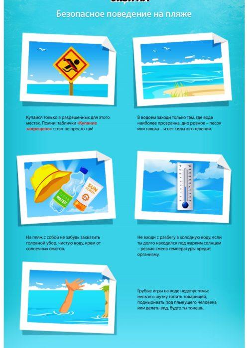 Памятку - безопасное поведение на пляже
